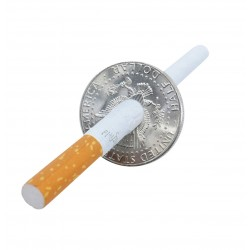 Moneda atravesada por cigarrillo